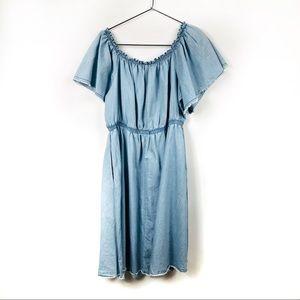Lane Bryant Dresses - Lane Bryant Denim Chambray Off the Shoulder Dress